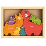 Cat Family Bilingual (English-Spanish) Color Puzzle
