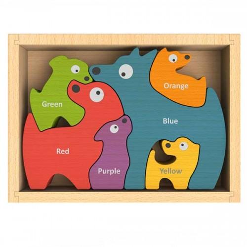 Dog Family Bilingual (English-Spanish) Color Puzzle