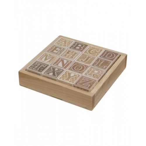 Natural ABC Blocks with Tray ~ Engraved