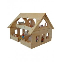 Natural Wooden Our Maine Dollhouse in Light Hardwood
