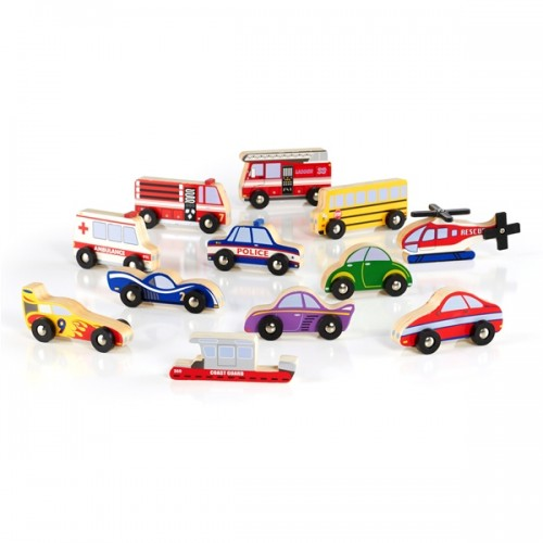 Wooden Vehicle Collection - Set of 12