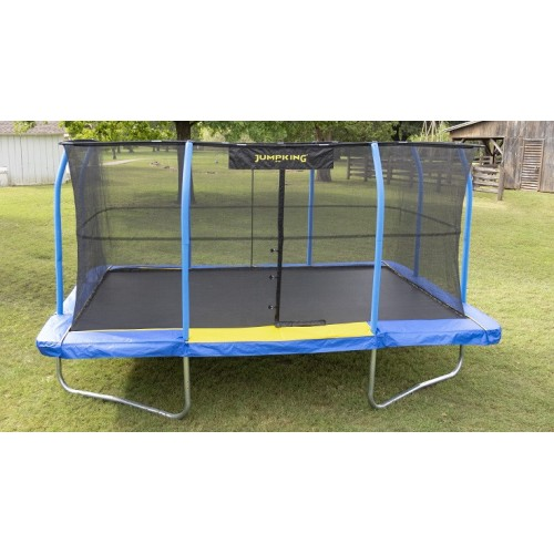 10' X 15' Jumpingking Rectangular Blue/yellow Pad Trampoline Combo