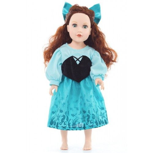 Little Adventure Doll Dress Mermaid Day Dress with Hair Bow