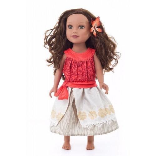 Little Adventure Doll Dress Polynesian Princess w/Hair Clip