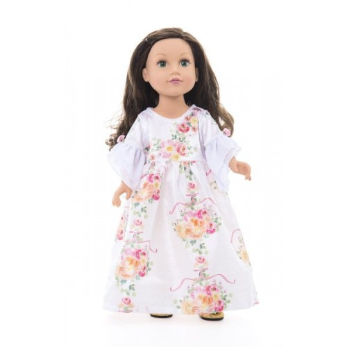 Little Adventure Doll Dress White Floral Beauty